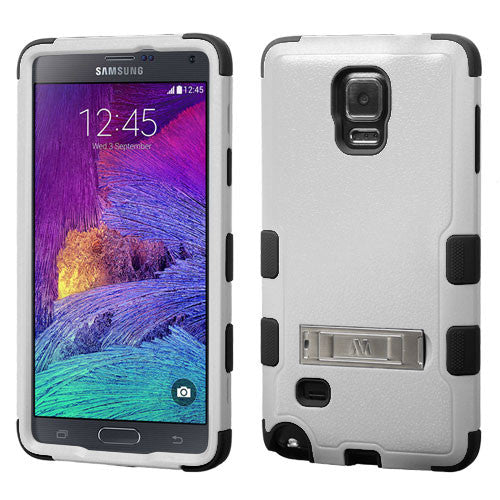 Galaxy Note 4 Hybrid Hard Armor Case w/ Metal Kickstand Grey/Black