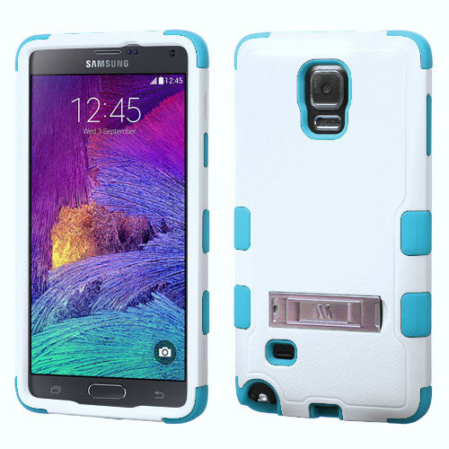 Galaxy Note 4 Hybrid Hard Armor Case w/ Metal Kickstand White/Teal