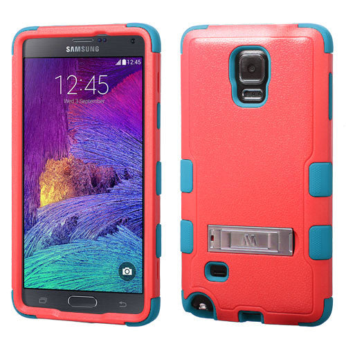 Galaxy Note 4 Hybrid Hard Armor Case w/ Metal Kickstand Baby Red/Teal