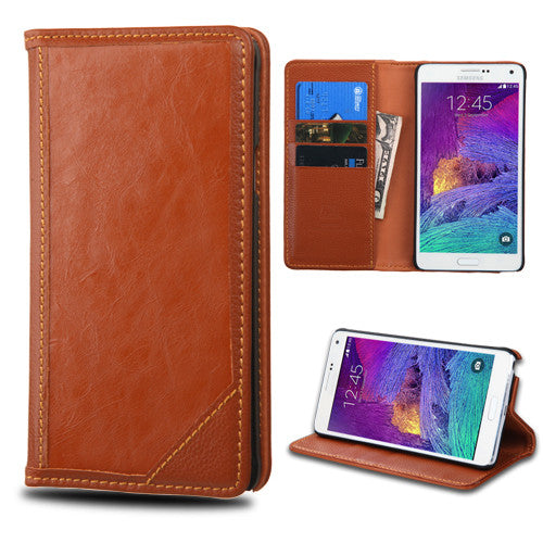 Samsung Galaxy Note 4 Brown Genuine Leather Wallet Case
