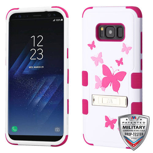 For Samsung Galaxy S8 Hybrid Cover Shockproof Case with Stand - Butterfly/Pink