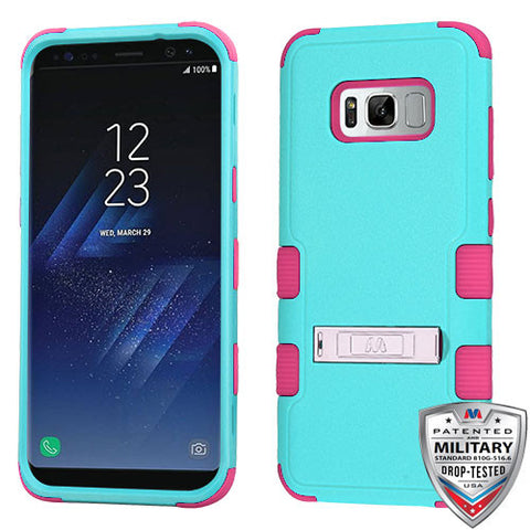 Samsung Galaxy S8 Plus Hybrid Cover Shockproof Case with Stand Teal Green/Pink