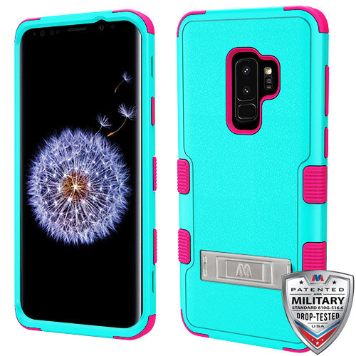 Samsung Galaxy S9+ Plus Hybrid Cover Shockproof Case with Stand Teal Green/Pink