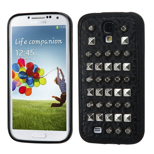 Samsung Galaxy S4 Black Leather Backing Metal Studs Hard Skin Case