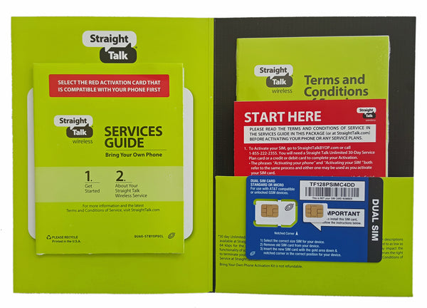 Straight Talk AT&T Micro and Standard SIM Card for GSM Network Dual Cut