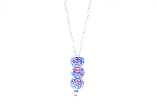 Viva Beads Handmade Clay Necklace (Blue and Orange)
