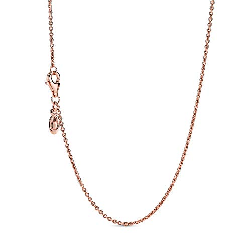 Pandora Jewelry Classic Cable Chain Pandora Rose with Sterling Silver Necklace, 17.7""
