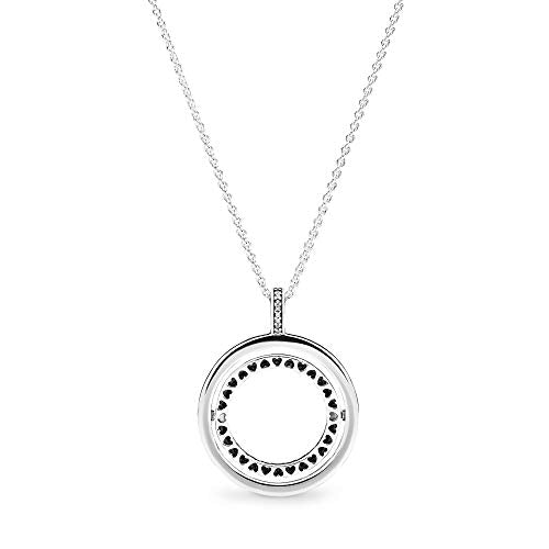 Pandora Jewelry Spinning Hearts Cubic Zirconia Necklace in Sterling Silver, 23.6""