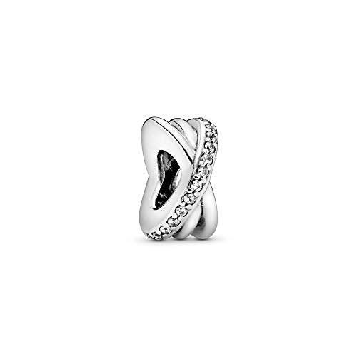 Pandora Jewelry Sparkling and Polished Lines Spacer Cubic Zirconia Charm in Sterling Silver