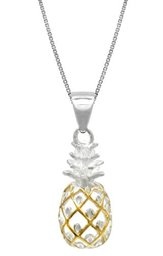 "Honolulu Jewelry Company Sterling Silver with 14k Gold Plated Trim Pineapple Necklace Pendant with 18"" Box Chain"