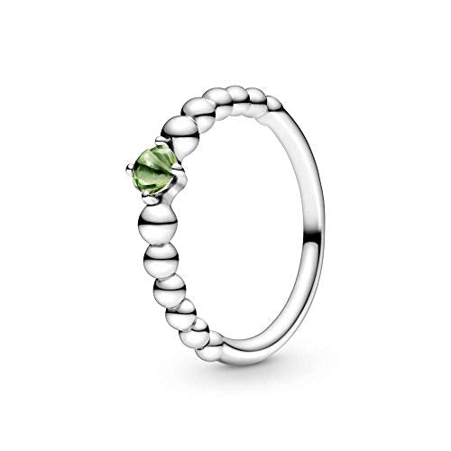 PANDORA August Spring Green Beaded 925 Sterling Silver Ring, Size: EUR-54, US-7-198867C10-54