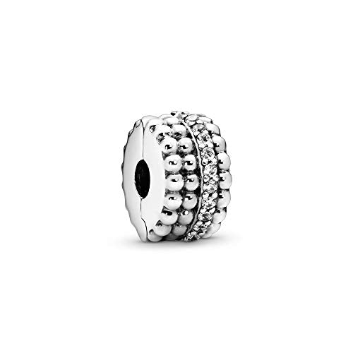 Pandora Jewelry Beaded Clip Cubic Zirconia Charm in Sterling Silver