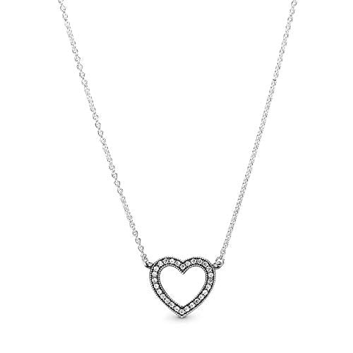 Pandora Jewelry Sparkling Open Heart Cubic Zirconia Necklace in Sterling Silver, 17.7""