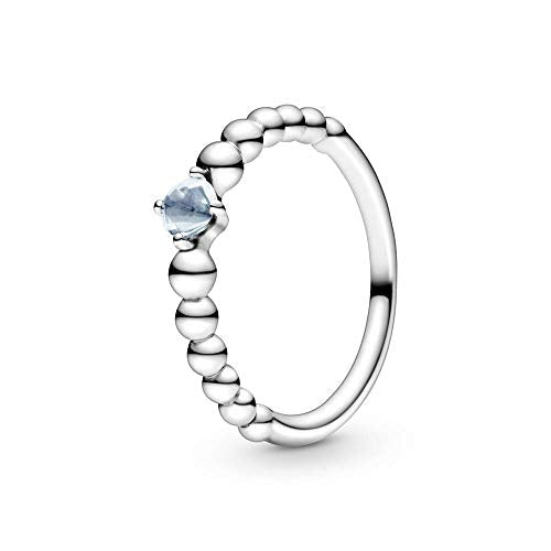 PANDORA March Aqua Blue Beaded 925 Sterling Silver Ring, Size: EUR-52, US-6-198867C01-52