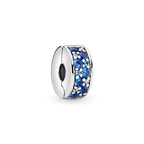 Pandora Jewelry Blue Pave Clip Crystal and Cubic Zirconia Charm in Sterling Silver