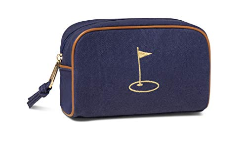"Spartina 449 - Embroidered Travel Pouch - Cosmetic and Toiletry Bag for Travel - 7"" x 5"" Women's Luxury Linen Zip-Top Travel Bag With Leather Piping"