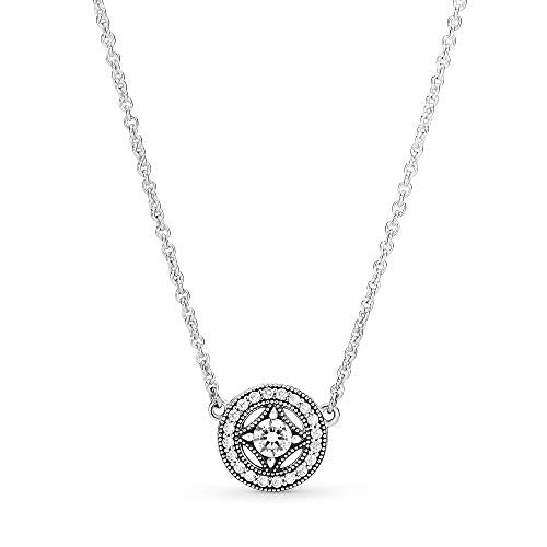 Pandora Jewelry Vintage Circle Collier Silver Chain Cubic Zirconia Necklace in Sterling Silver, 17.7""