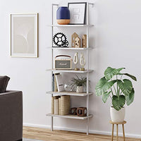 Nathan James Theo 5-Shelf Modern Bookcase, Open Wall Mount Ladder Bookshelf with Industrial Metal Frame, Gray Oak Wood/White