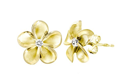 14k Yellow Gold Plated Sterling Silver Plumeria Stud Earrings with CZ, 12mm