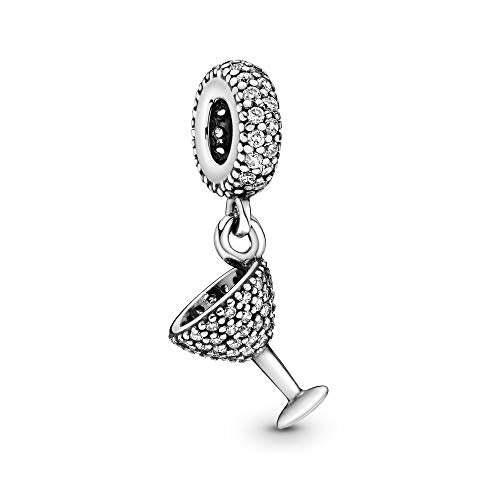 Pandora Jewelry Pave Cocktail Glass Dangle Cubic Zirconia Charm in Sterling Silver