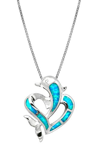 "Sterling Silver Dolphin Heart CZ Necklace Pendant with Simulated Blue Opal and 18"" Box Chain"