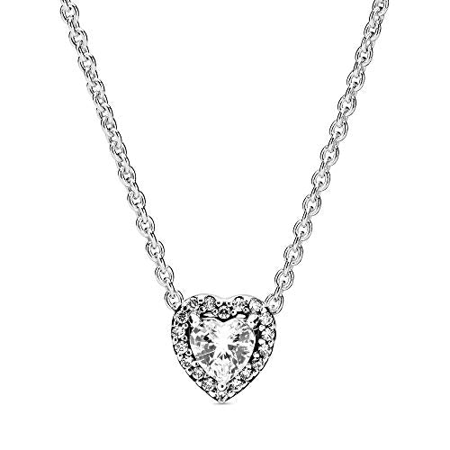 Pandora Jewelry Elevated Heart Cubic Zirconia Necklace in Sterling Silver, 17.7""