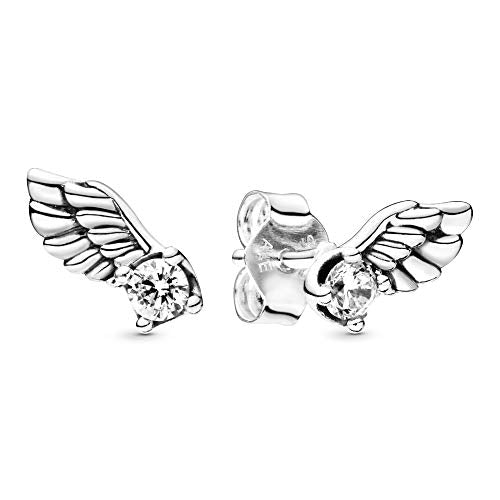 Pandora Jewelry Sparkling Angel Wing Stud Cubic Zirconia Earrings in Sterling Silver