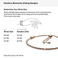 Pandora Jewelry Moments Slider Bangle Cubic Zirconia Bracelet in Pandora Rose, 6.7""