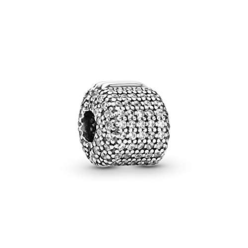 Pandora Jewelry Pave Barrel Clip Cubic Zirconia Charm in Sterling Silver