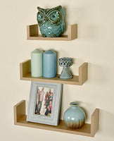 Greenco Set of 3 Floating U Shelves, Natural Finish
