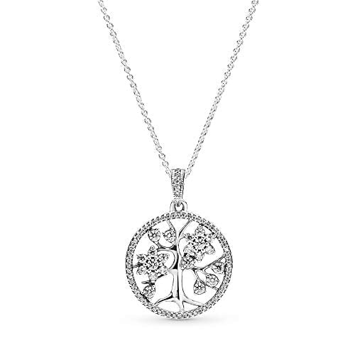 Pandora Jewelry Family Tree Hearts Cubic Zirconia Necklace in Sterling Silver, 31.5""