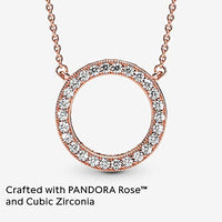 Pandora Jewelry Circle of Sparkle Cubic Zirconia Necklace in Pandora Rose, 17.7""