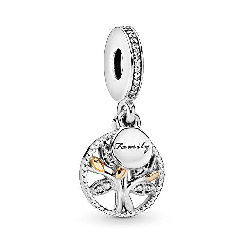 Pandora Jewelry Sparkling Family Tree Dangle Cubic Zirconia Charm in Sterling Silver and 14K Yellow Gold