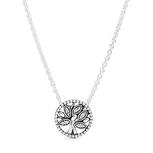 Pandora Jewelry Sparkling Family Tree Cubic Zirconia Necklace in Sterling Silver, 17.7""