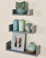 Greenco Set of 3 Floating U Shelves, Gray Finish