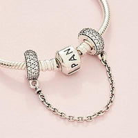 Pandora Jewelry Pave Inspiration Safety Chain Cubic Zirconia Charm in Sterling Silver, 2.0""