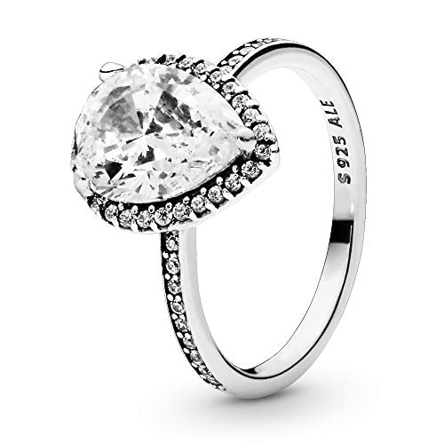 Pandora Jewelry Sparkling Teardrop Halo Cubic Zirconia Ring in Sterling Silver, Size 6