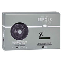 MAISON BERGER - Refillable Car Vent Clip Diffuser Set - 3.1 x 2 x 0.8 inches - Made in France (Anti-Tobacco Odor)