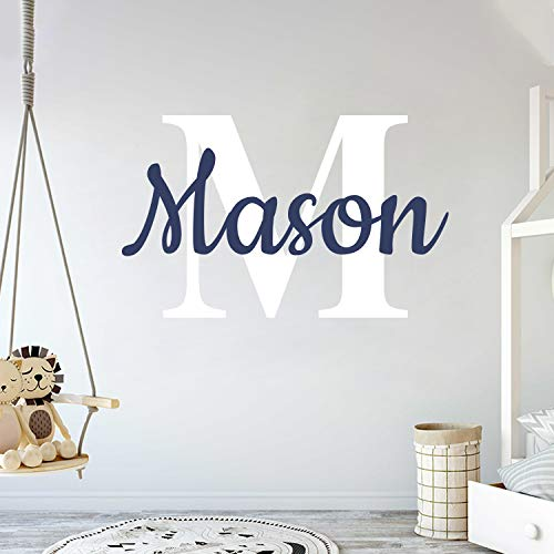 "Custom Name & Initial - Prime Series - Baby Boy Girl Unisex - Wall Decal Nursery for Home Bedroom Children (Wide 22"" x 15"" Height)"