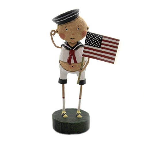 Lori Mitchell Aye Aye ADAM Polyresin Sailor Patriotic Flag Americana 22475