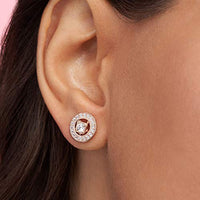 Pandora Jewelry Vintage Circle Stud Cubic Zirconia Earrings in Pandora Rose