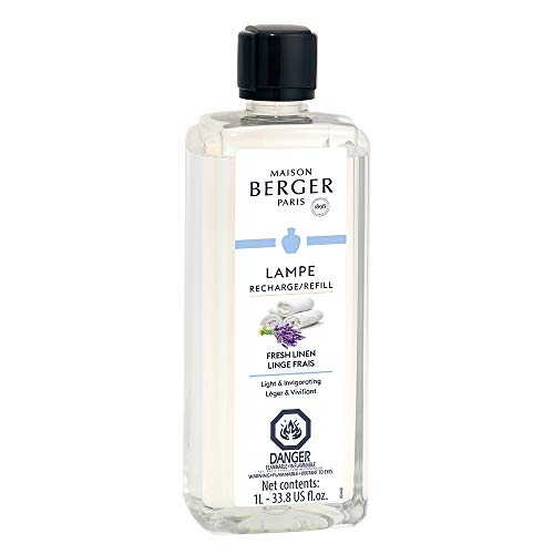 Fresh Linen | Lampe Berger Fragrance Refill for Home Fragrance Oil Diffuser | Purifying and perfuming Your Home | 33.8 Fluid Ounces - 1 Liter | Made in France