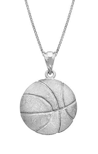"Honolulu Jewelry Company Sterling Silver Basketball Necklace Pendant with 18"" Box Chain"