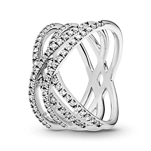 Pandora Jewelry Entwined Lines Cubic Zirconia Ring in Sterling Silver, Size 7.5