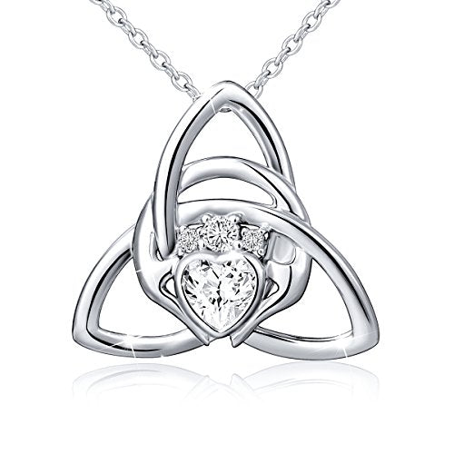 925 Sterling Silver Good Luck Irish Claddagh Celtic Knot Love Heart Pendant Necklace for Women Ladies Birthday Gift Valentine's Day Gift, 18 Inch Rolo Chain