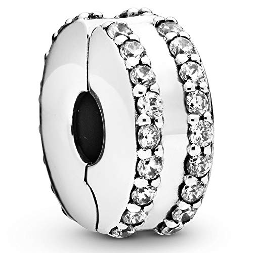Pandora Jewelry Double Lined Pave Fixed Clips Cubic Zirconia Charm in Sterling Silver