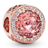 Pandora Jewelry Sparkling Blush Pink Crystal and Cubic Zirconia Charm in Pandora Rose