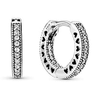 Pandora Jewelry Pave Heart Hoop Cubic Zirconia Earrings in Sterling Silver (2.5mm)