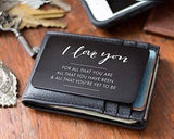 Anniversary Gift Idea for Men, Boyfriend, Husband - Engraved Wallet Card Note for His Wallet - Perfect Long Distance Relationship Gift, Just Because, I Love You Note, Valentines Day Card