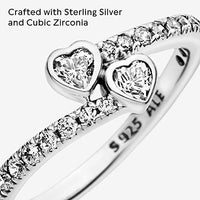 Pandora Jewelry Two Sparkling Hearts Cubic Zirconia Ring in Sterling Silver